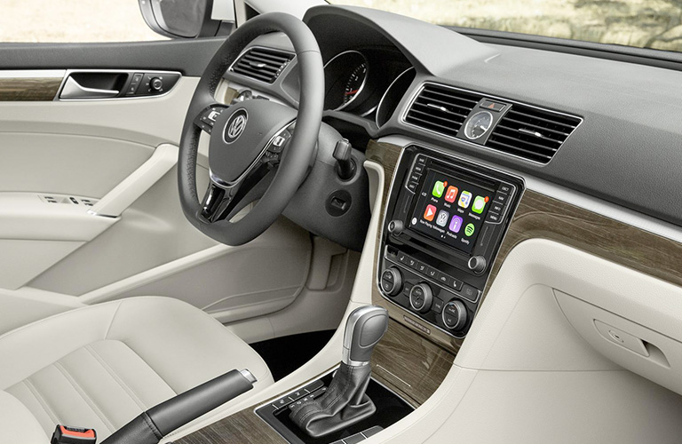 Steering wheel and touch screen inside a 2018 Volkswagen Passat