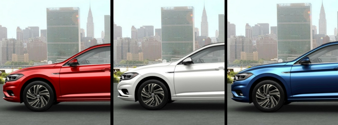 Red, White, and Blue 2019 Jetta lined up