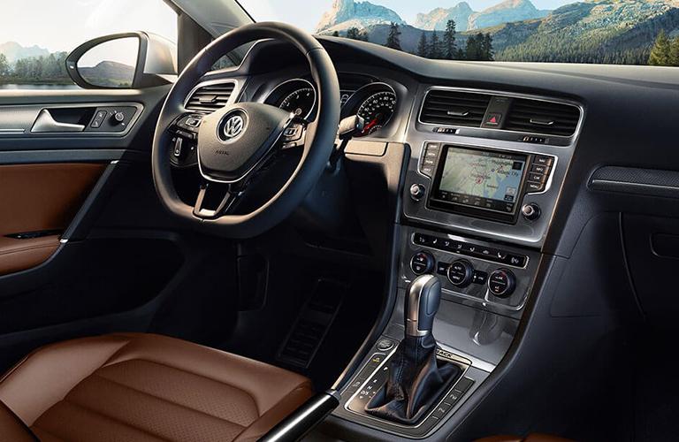 Steering wheel inside the 2018 Volkswagen Golf Alltrack
