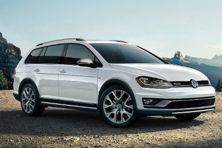 2018 Volkswagen Golf Alltrack parked on gravel