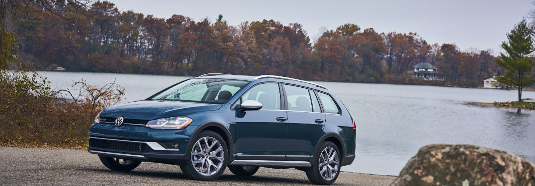 2018 Volkswagen Golf Alltrack parked by a lake