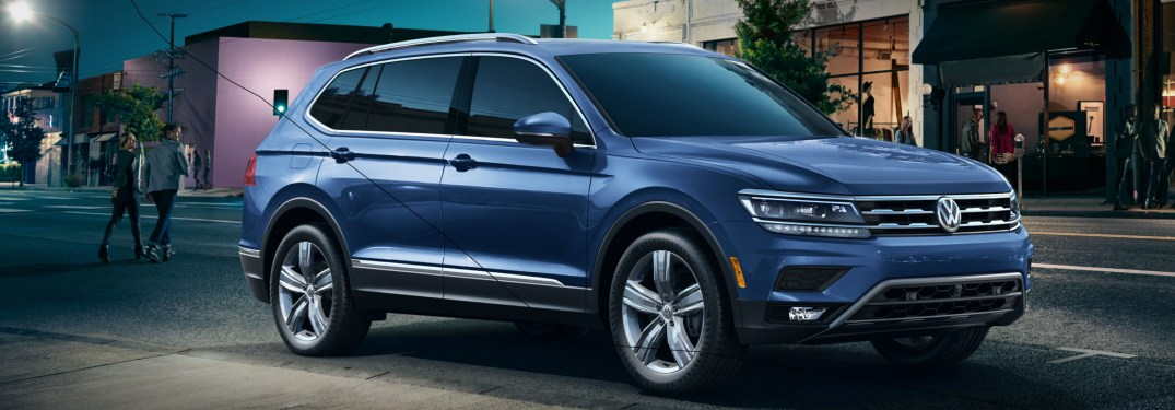 2019 Volkswagen Tiguan parked in a dark city street