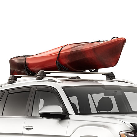 2019 Volkswagen Atlas with a kayak attached to its carrier bars