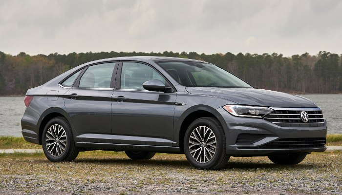 2019 Volkswagen Jetta SEL parked in front of a river