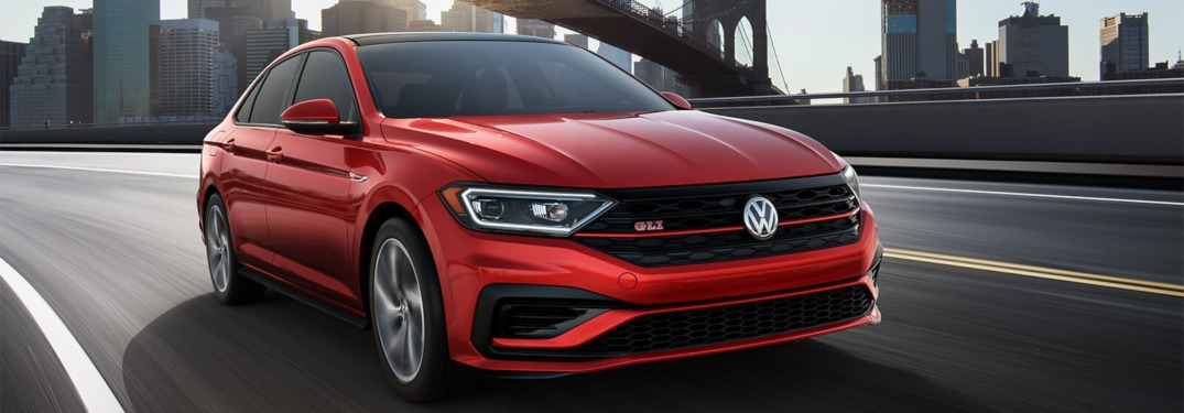 2019 Volkswagen Jetta GLI driving down a highway