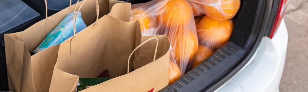 bags of food in trunk