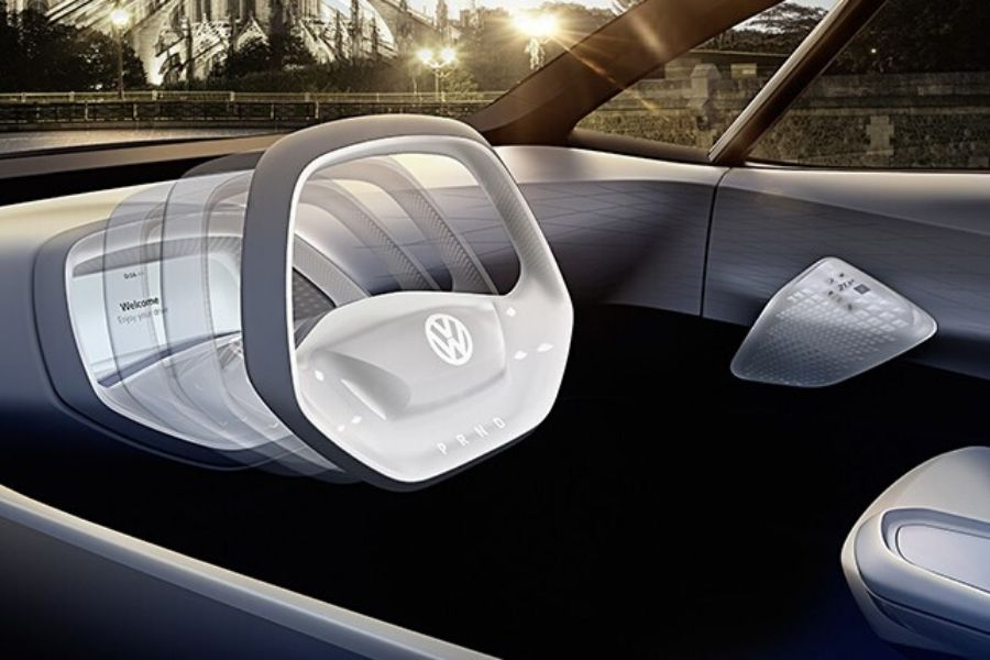 Retracting steering wheel on VW ID. concept car