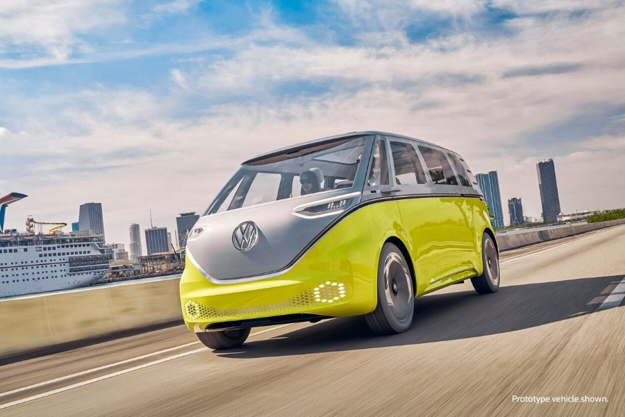 VW I.D. BUZZ driving down road from exterior front drivers side