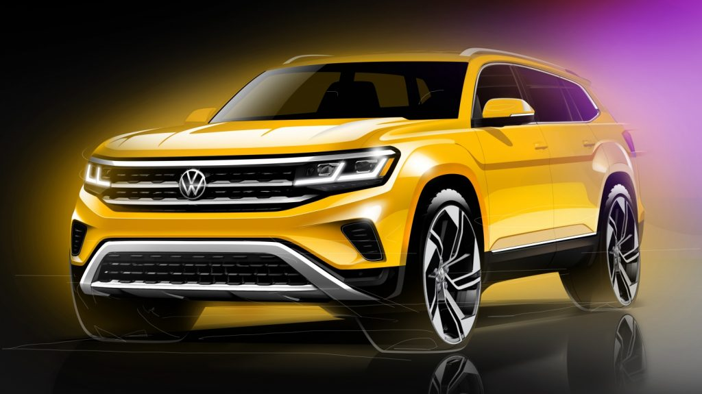 front of yellow 2021 Volkswagen Atlas