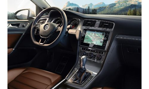 2020 VW alltrack interior shot from passenger seat showing screen and wheel