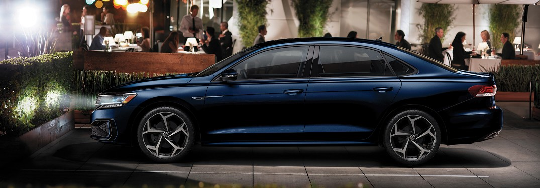 2020 Volkswagen Passat R-Line blue parked outside event at night