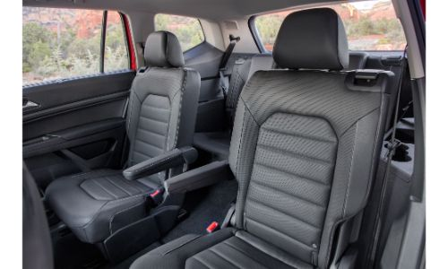 2021 Atlas SEL Premium 4MOTION interior showing leather seats captains chairs in second row