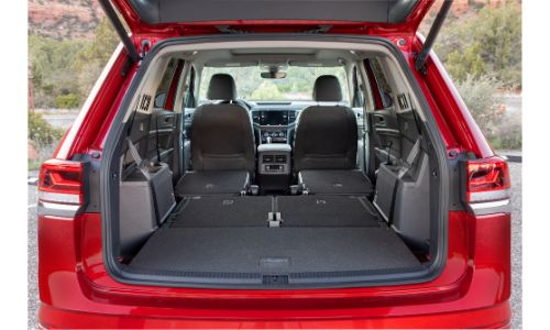 2021 Atlas SEL Premium 4MOTION view of interior with all seats down shot through back door
