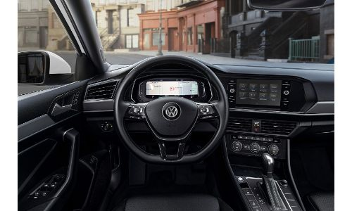 2020 Jetta SEL Premium interior view of cabin and infotainment screen