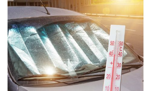 stock photo of reflective sun shade under windshield