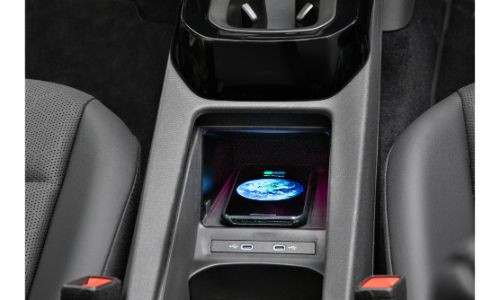 2020 Volkswagen ID.4 interior showing phone charger bay