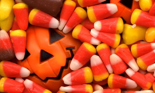 close up of candy corn and candy pumpkin