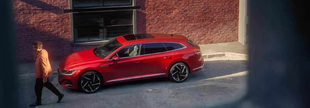 2021 Volkswagen Arteon Shooting Brake red view from high window