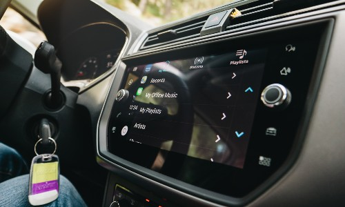 view of clean car touchscreen with music menu open