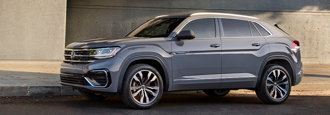 2021 Volkswagen Atlas Cross Sport gray parked on side of road in shadow