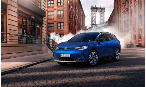2021 Volkswagen ID.4 blue parked sideways on road