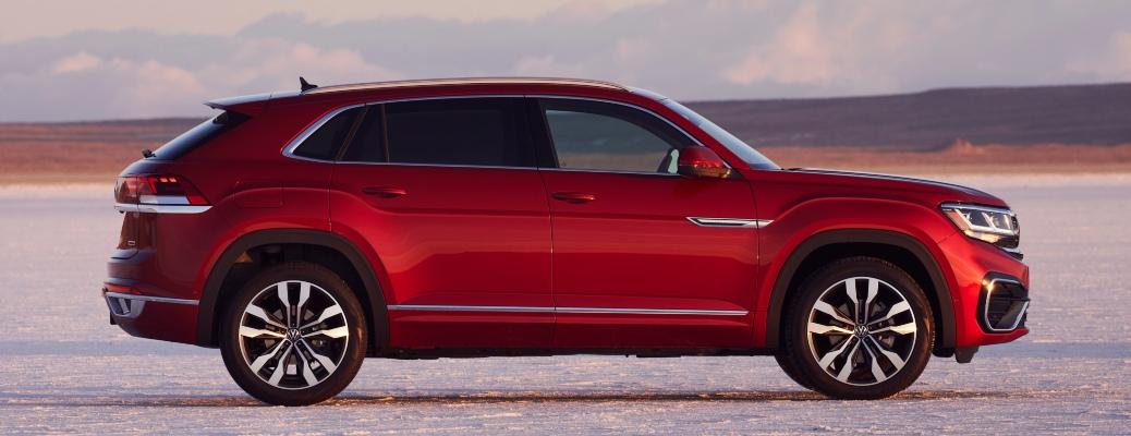2021 Volkswagen Atlas Cross Sport red side view