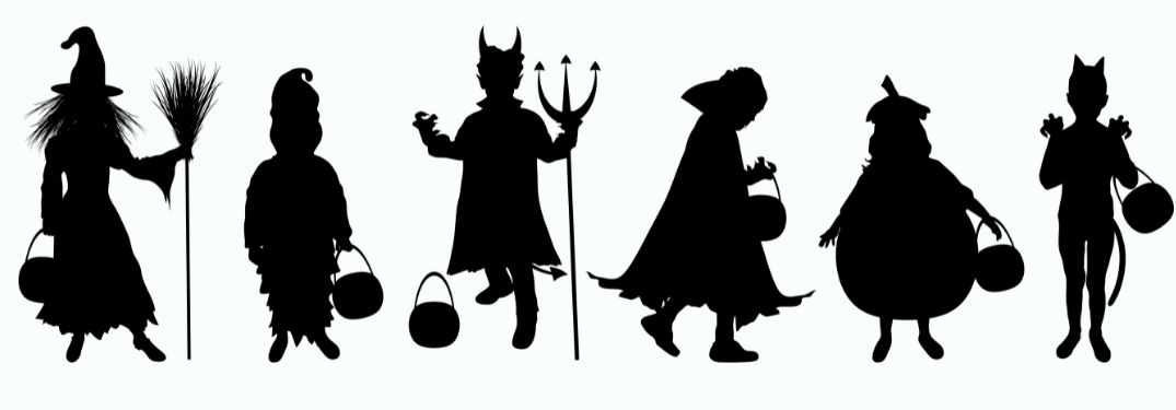 Graphical description of the spirit of Halloween with witches marching forward