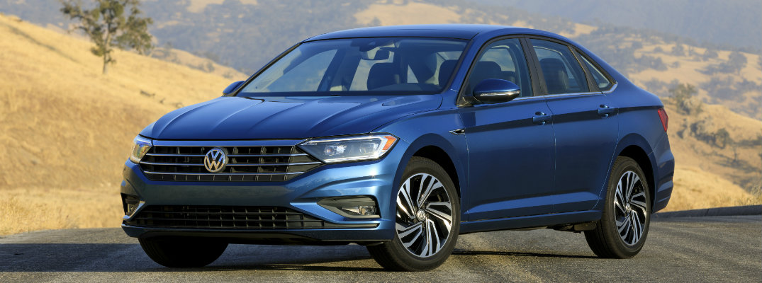 Newly-redesigned 2019 Volkswagen Jetta in blue paint color