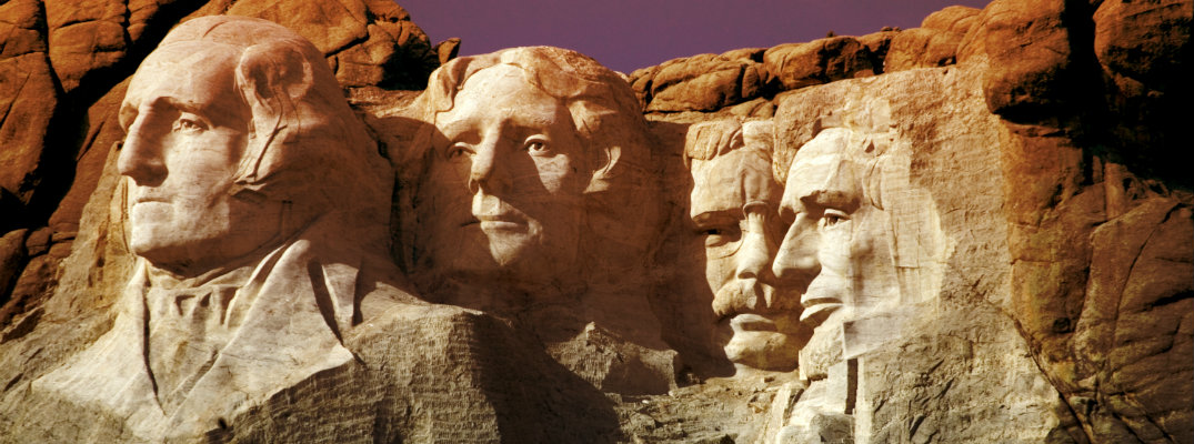 South Dakota's Mount Rushmore with golden light
