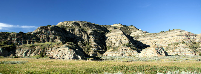 Landscape in Theodore Roosevelt National Park in western North Dakota