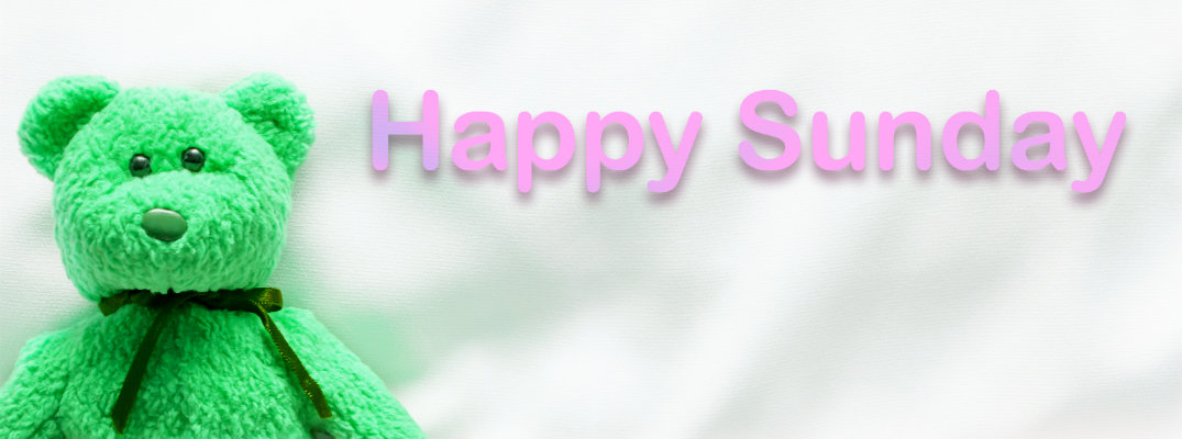 "Green teddy bear saying ""Happy Sunday"""
