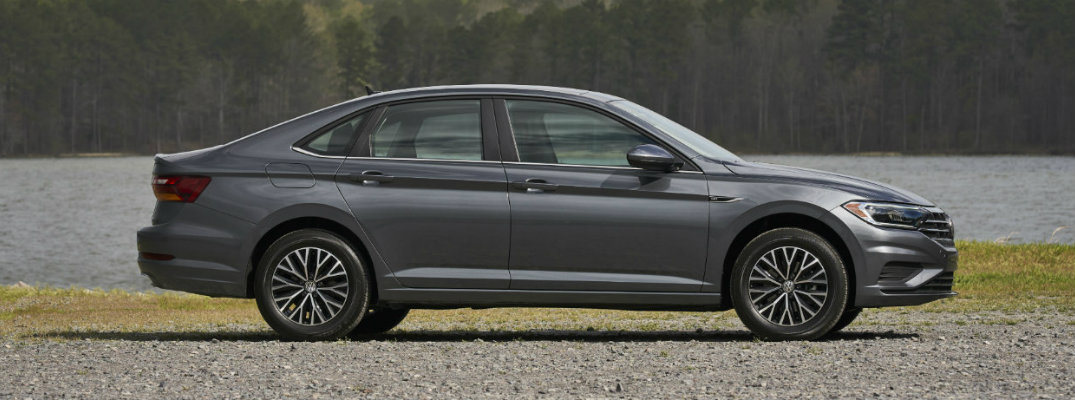 Side profile of gray-colored 2019 Volkswagen Jetta