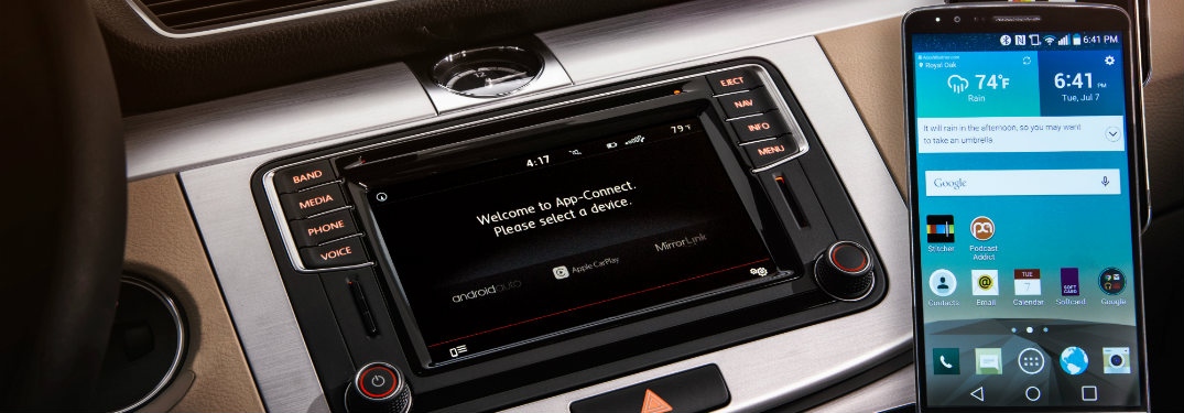 Volkswagen dashboard with smartphone to the side