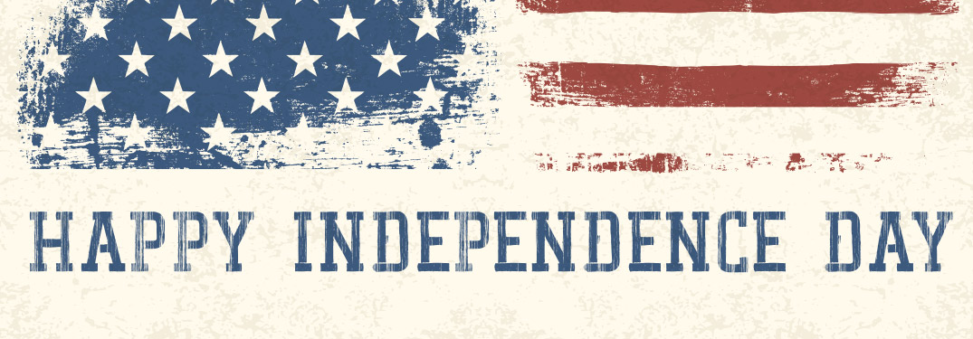 "American flag banner with ""Happy Independence Day"" text below it"