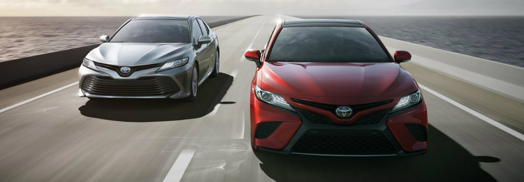 2018 Toyota Camry two models exterior front on road