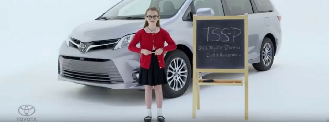 Little Jan Standing in Front of Chalkboard and 2018 Toyota Sienna