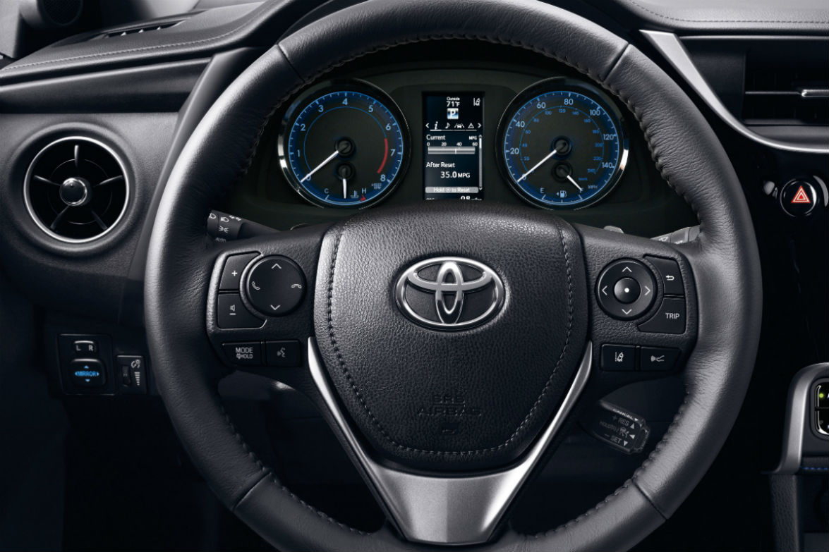 Steering wheel controls and driver information center of the 2019 Toyota Corolla