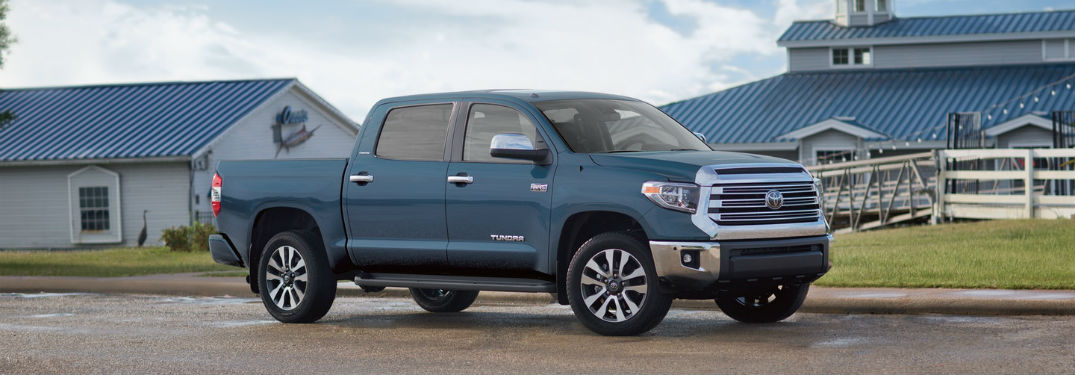 Passenger side exterior view of a blue 2019 Toyota Tundra