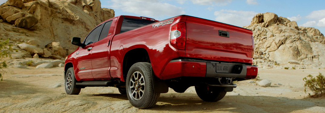 red toyota tundra in the desert
