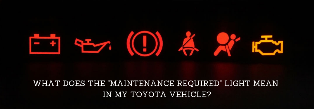 "What does the ""maintenance required"" light mean in my Toyota Vehicle?, text on an image of red vehicle warning lights against a black background"