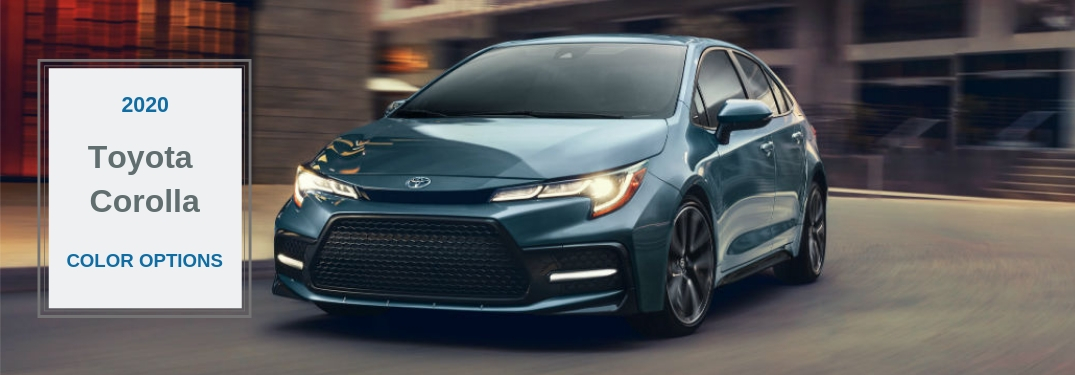 2020 Toyota Corolla Color Options, text next to a front driver side exterior image of a blue 2020 Toyota Corolla