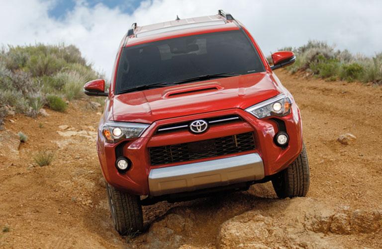 2020 Toyota 4Runner in red going downhill