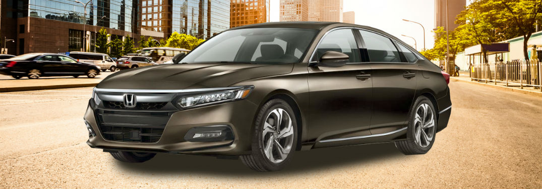 Driver side exterior view of a black 2018 Honda Accord Sedan