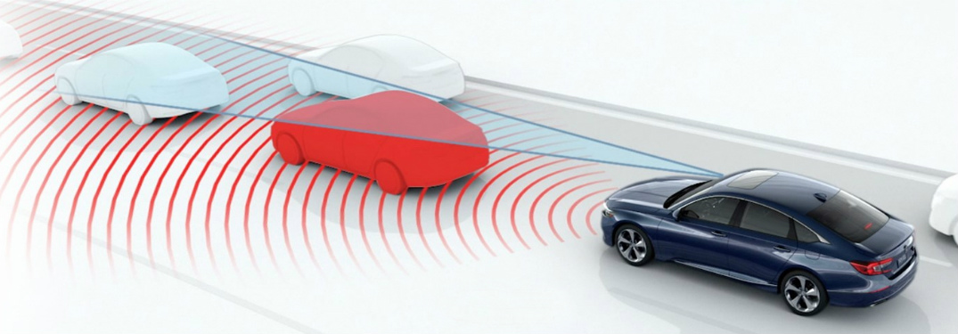 graphic showing a Honda vehicle detecting other cars on the road with camera and radar detection