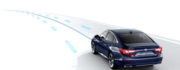 graphic depicting how the Honda lane keeping assist system works