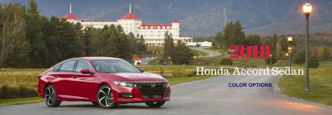 2018 Honda Accord Sedan Color Options, text on an passenger side exterior image of a red 2018 Honda Accord Sedan
