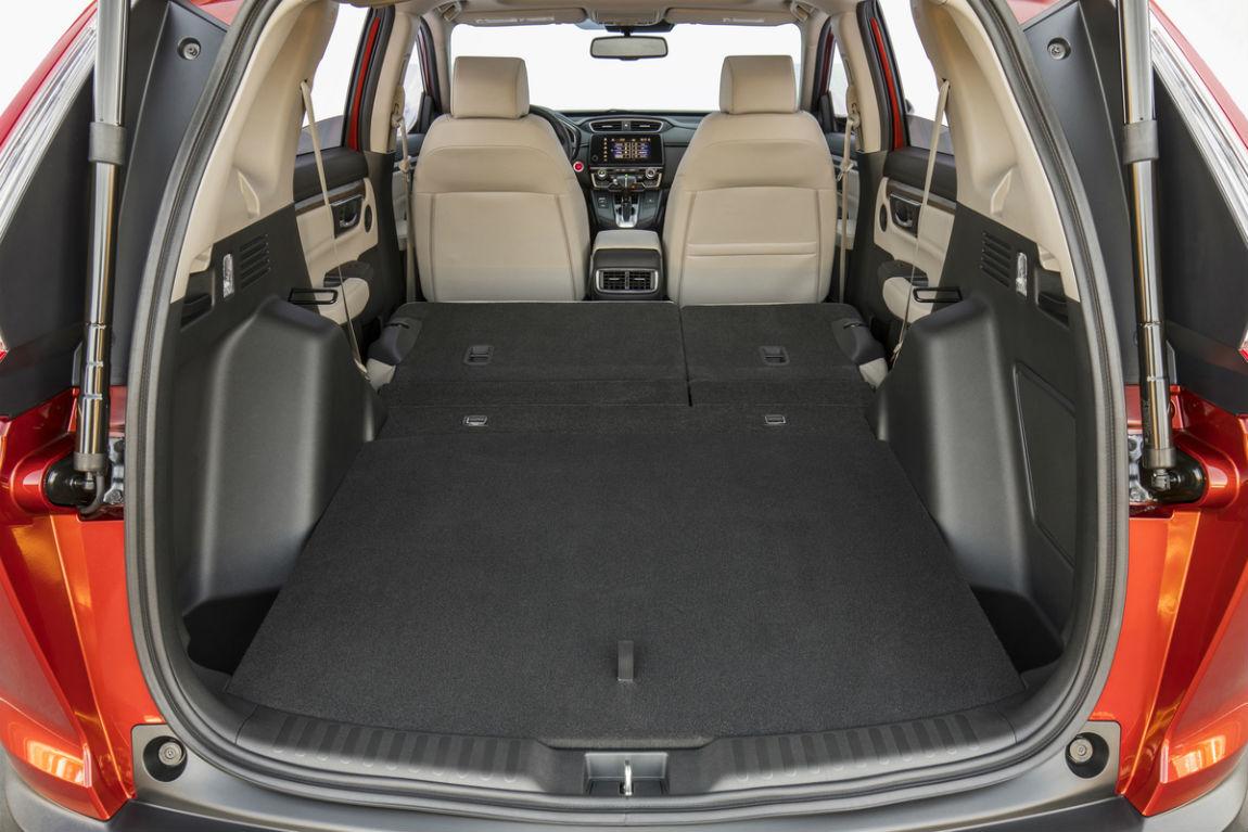 Rear seat folded flat in the 2018 Honda CR-V