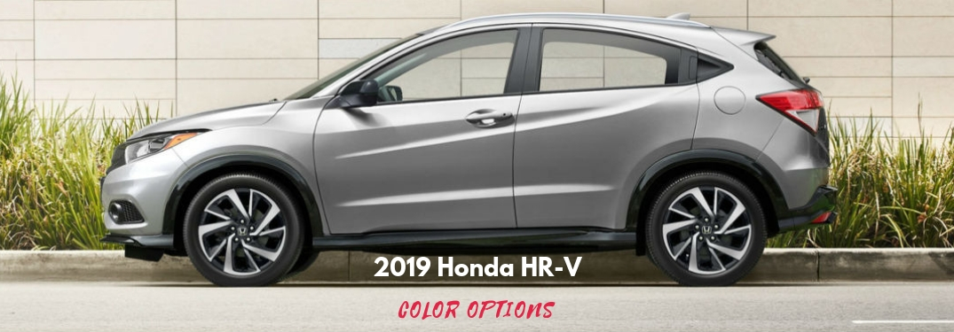 2019 Honda HR-V Color Options, text on a driver side exterior image of a gray 2019 Honda HR-V