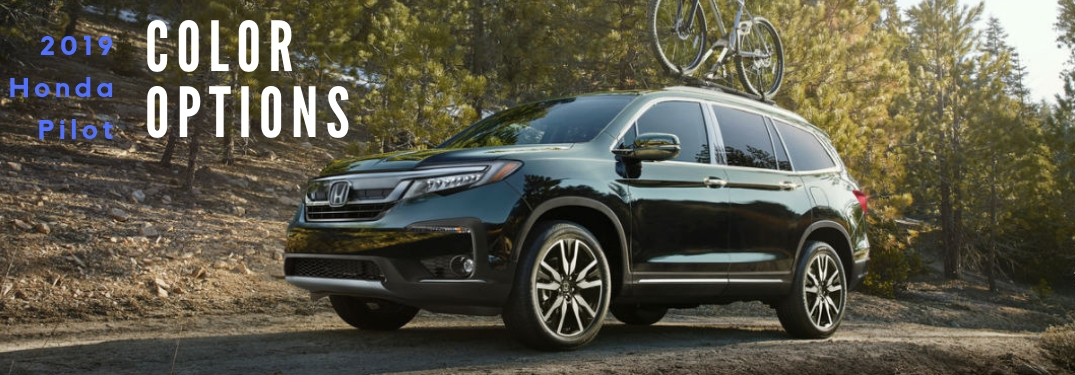 2019 Honda pilot Color Options, text on an exterior image of a black 2019 Honda Pilot