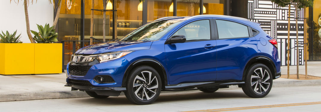 Driver side exterior view of a blue 2019 Honda HR-V